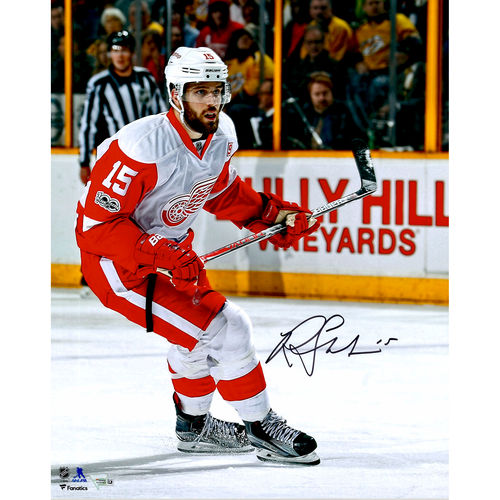 "Riley Sheahan Detroit Red Wings Autographed 16"" x 20"" White Jersey Skating Photograph No Size by Fanatics Authentic"