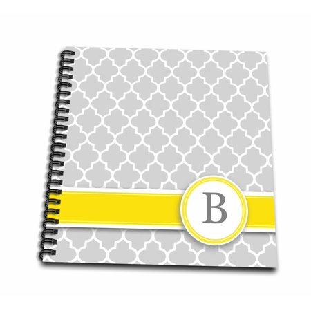 3dRose Your personal name initial letter B - monogrammed grey quatrefoil pattern - personalized yellow gray - Mini Notepad, 4 by 4-inch](Monogrammed Notepads)