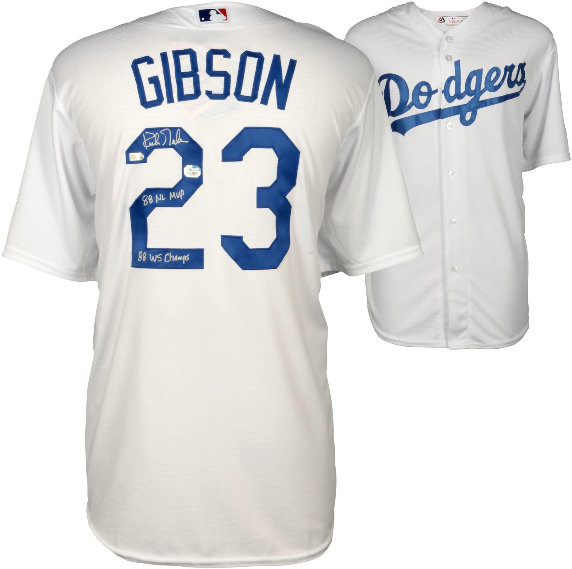 Kirk Gibson Los Angeles Dodgers Autographed White Replica Jersey with Dual Inscriptions