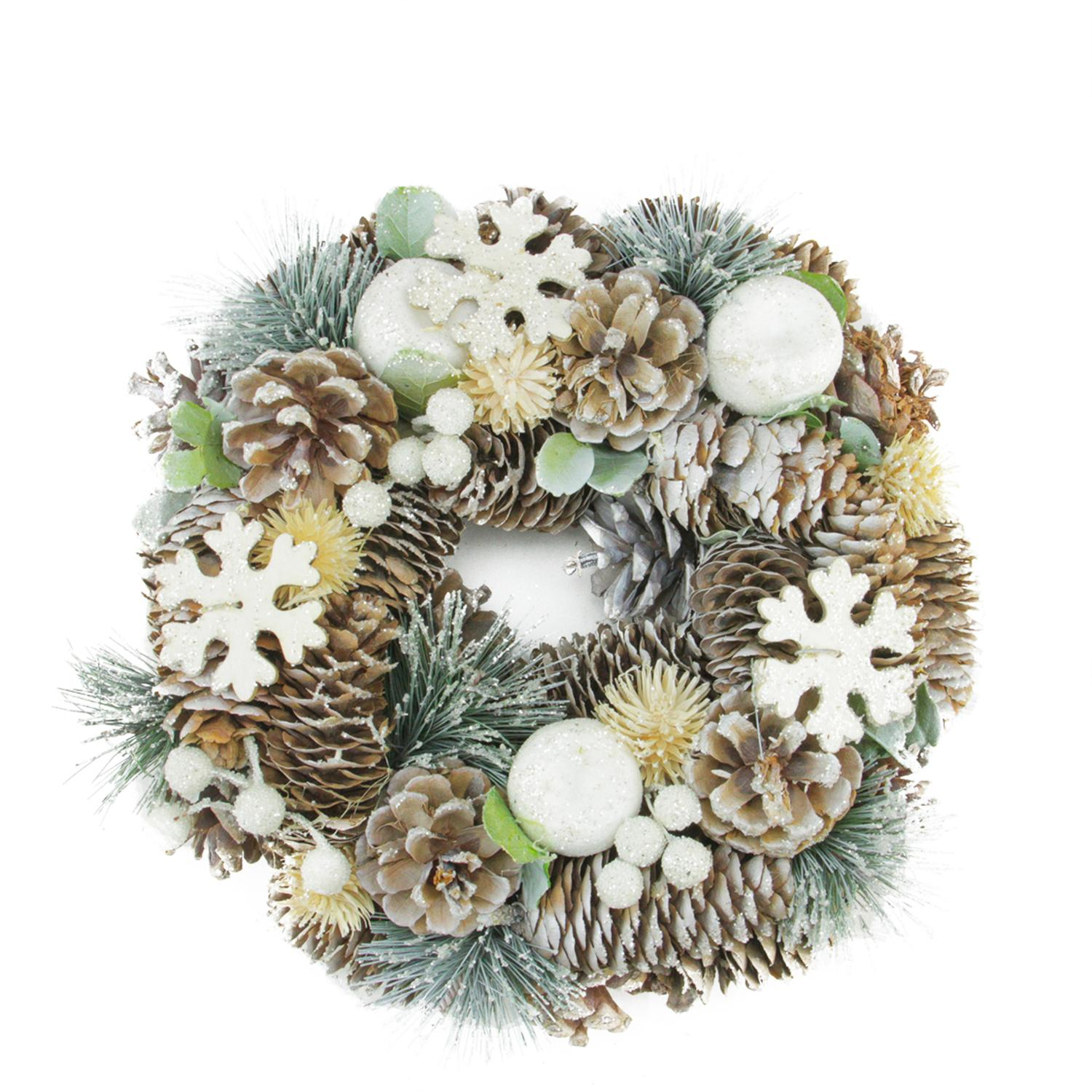 "10.5"" Frosted Glitter Pine Cone and Fruit Artificial Christmas Wreath - Unlit"