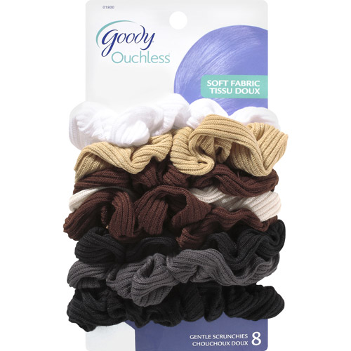 Goody Ouchless Soft Fabric Gentle Scrunchies, 8 count