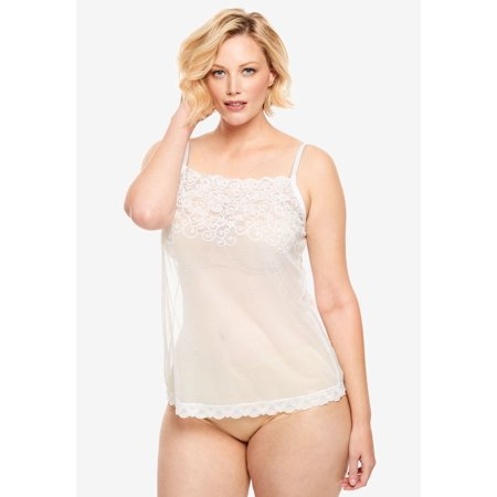 Lace Sheer Camisole - Comfort Choice Plus Size Sheer Lace Trim Camisole