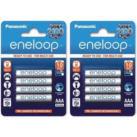 8 AAA Panasonic Eneloop Pack BK-4MCCE Rechargeable Batteries min 750 mAH, 2x4 Pk