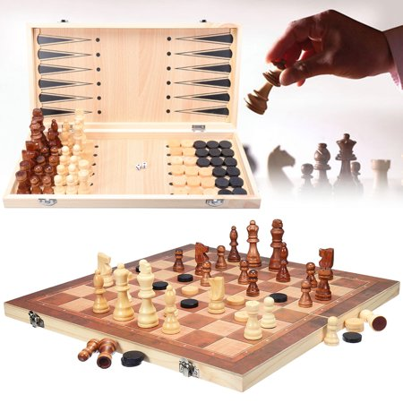 Kadell 3 in1 Folding Wooden Chess Set Board Game Checkers Backgammon Draughts Xmas Gift