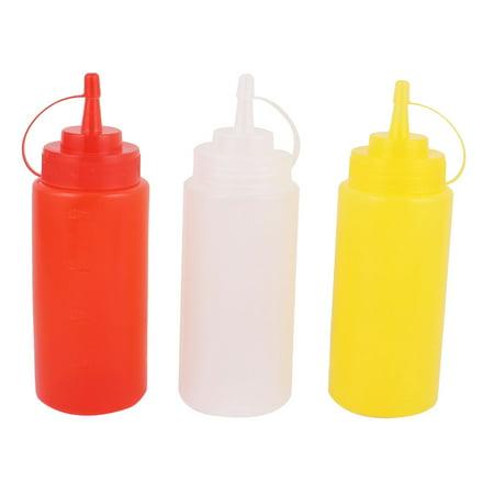 3 Pcs Kitchen 400ml Sauce Oil Ketchup Squeeze Dispenser Bottle