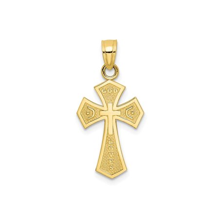 10K Yellow Gold Reversible Cross Pendant Necklace with Chain - image 2 de 4