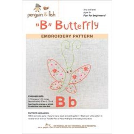 Penguin and Fish Embroidery Pattern - Butterfly-