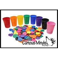 8 Color Sorting Cups & Buttons for Preschool and Early Childhood Education - Color learning toy - Sorting Tray
