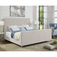 Alex Beige Linen Platform Bed Queen Size