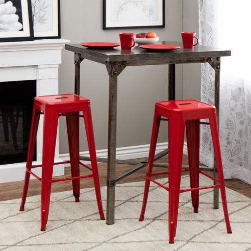 i love living tabouret 30inch red metal bar stools set of 2
