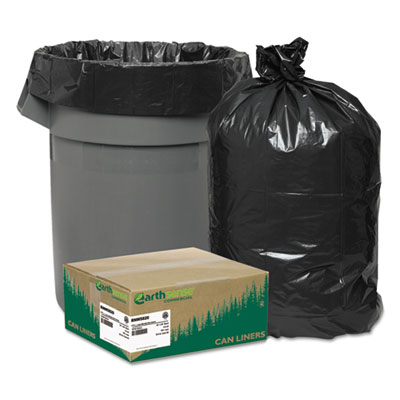 Recycled Can Liners, 55-60gal, 2mil, 38 X 58, Black, 100/carton