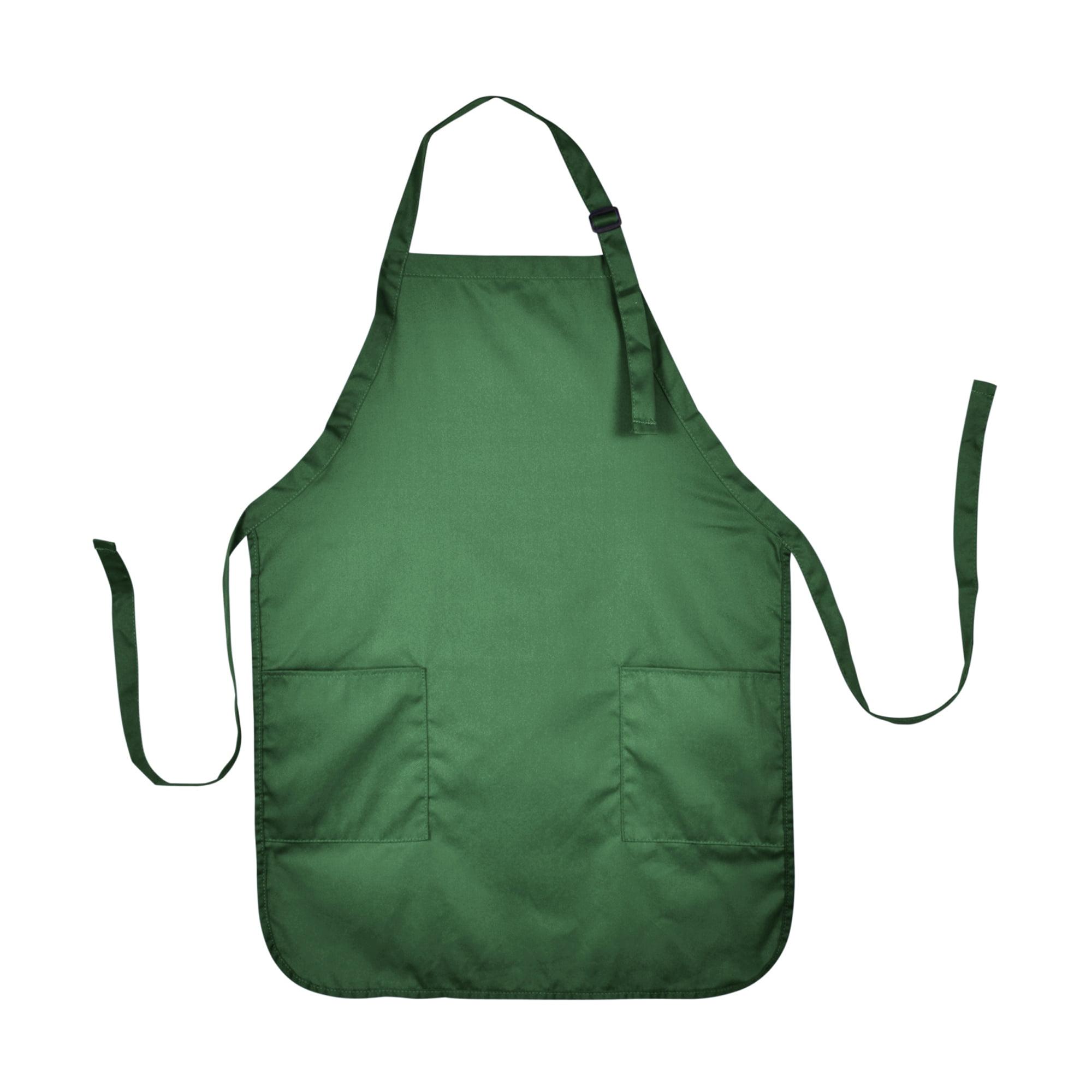 DALIX Apron Commercial Restaurant Home Bib Spun Poly Cotton Kitchen Aprons (2 Pockets) in Black