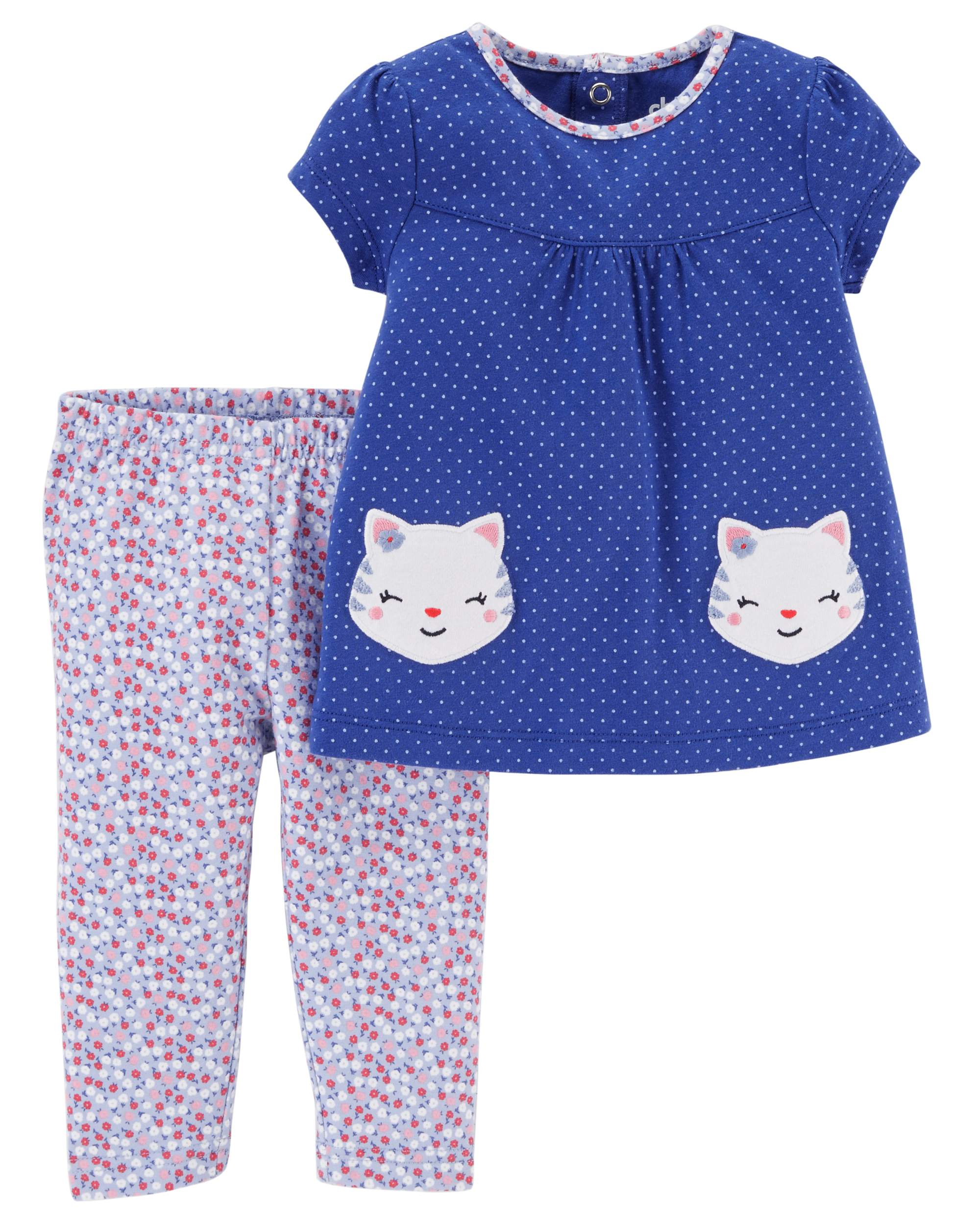 Baby Girl Short Sleeve Tunic & Leggings, 2pc Outfit Set