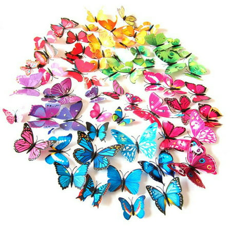 CUH 24 PCS Wall Stickers Creative 3D Butterfly Wall Stickers Art DIY Decoration Decals Wall Art Decors for Home Bedroom Living Room TV Background Wall Kitchen Fridge