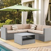 SUNCROWN 4Pcs Outdoor Patio Furniture Grey Wicker Sectional Sofa Set