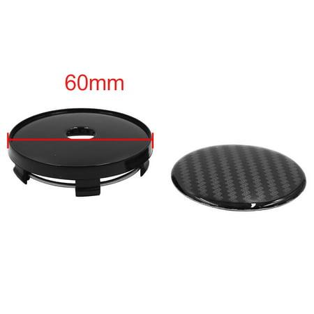 4pcs Black Carbon Fiber Pattern 60mm Dia 5 Clips Wheel Tyre Center Hub Cap Cover - image 2 of 3