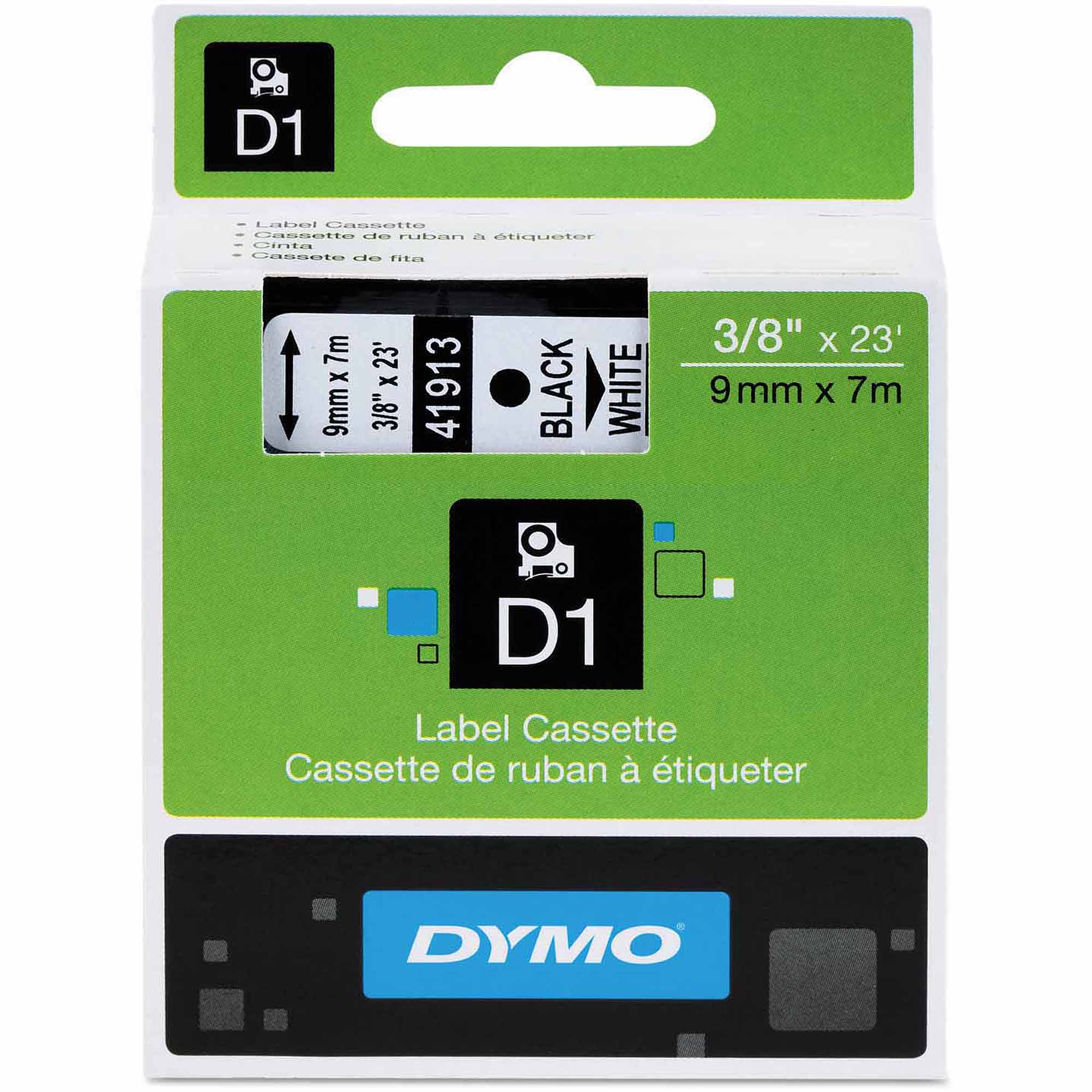 "DYMO D1 Standard Tape Cartridge for Dymo Label Makers, 3/8"" x 23', Black on White"