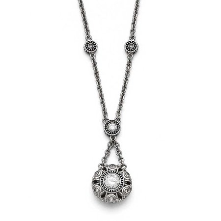 Stainless Steel Polished and Antiqued CZ with 2in ext. Necklace Cubic Zirconia Antiqued Bead