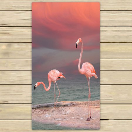 PHFZK Watercolor Animal Towel, Tropical Beach Pink Flamingo Hand Towel Bath Bathroom Shower Towels Beach Towel 30x56 inches