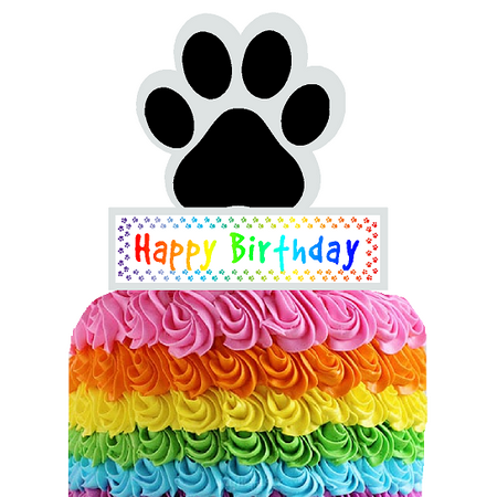 Happy Birthday Paw Print Cake Decoration Topper