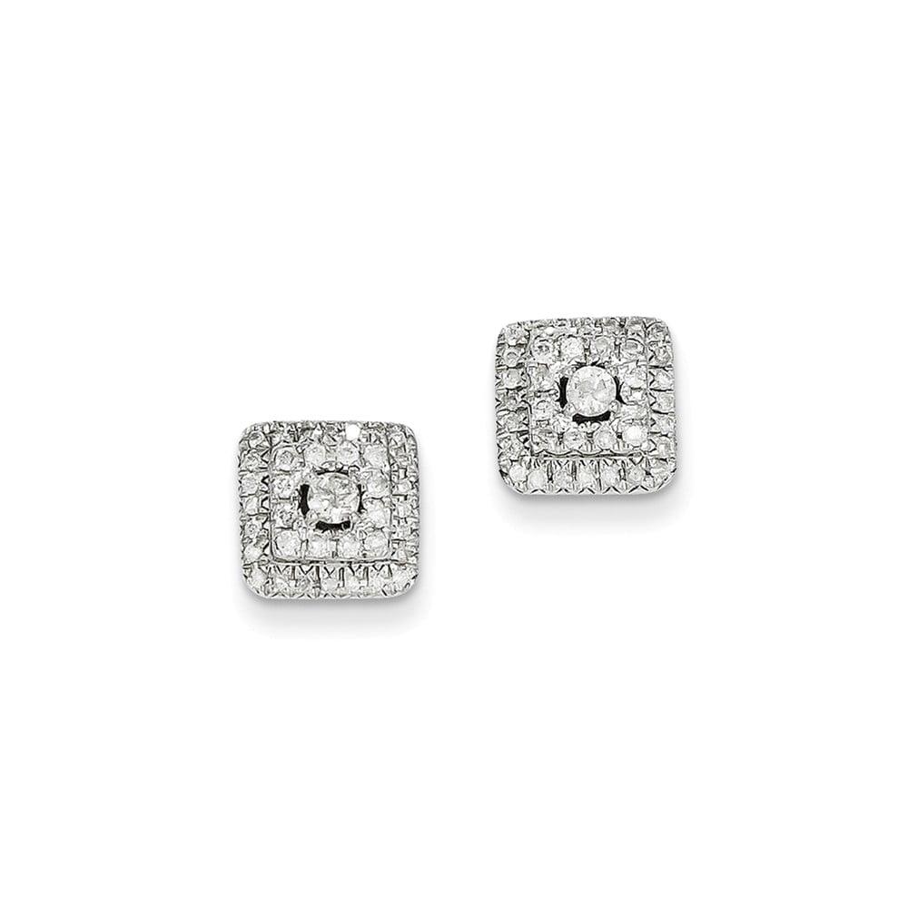 14k White Gold 0.51ct Diamond Square Post Earrings. Carat Wt- 0.51ct (9MM)
