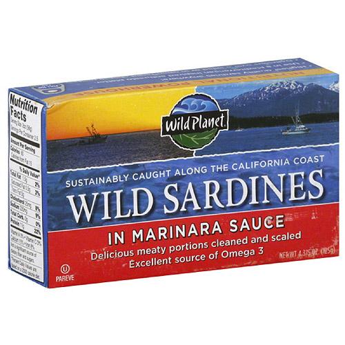 Wild Planet Wild Sardines in Marinara Sauce, 4.375 oz, (Pack of 12)