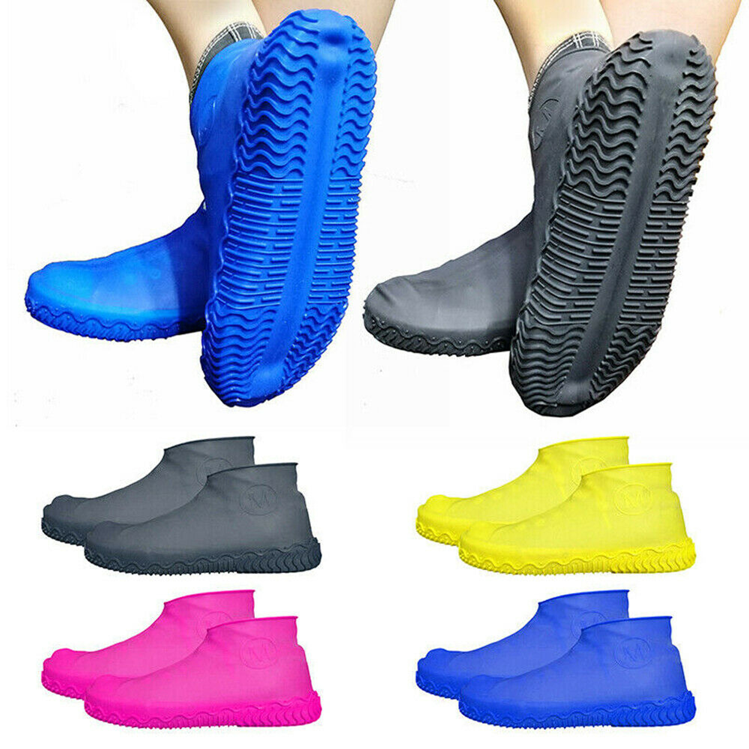 Medium, Blue Waterproof Shoe Cover Silicone Water-resistan Unisex Shoes Protectors Rain Boots Overshoes