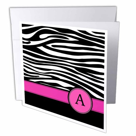 3dRose Letter A monogrammed on black and white zebra stripes animal print with hot pink personal initial, Greeting Cards, 6 x 6 inches, set of 12 - Initial Note Card Set