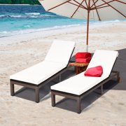 Costway 2PC Patio Rattan Lounge Chair Chaise Recliner Back Adjustable Cushioned W/Wheels