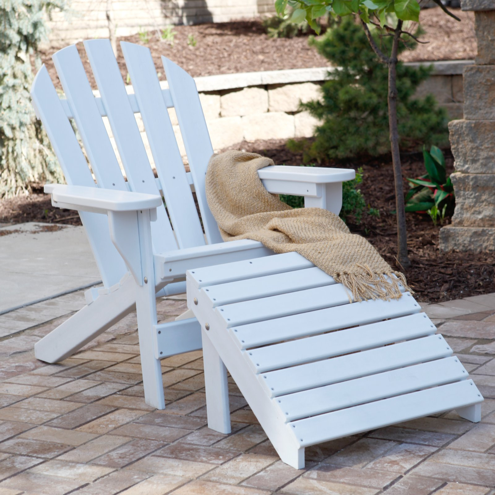 Jayhawk Plastics Recycled Plastic Cape Cod Adirondack Chair And Ottoman Set