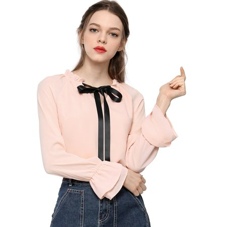 Women's Ruffles Tie Neck Layered Chiffon Blouse T-Shirt ()