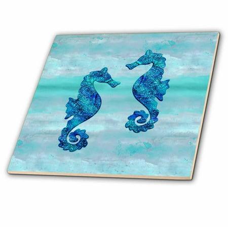 3dRose Seahorses couple blue ink - Ceramic Tile, - Couple Tile Box