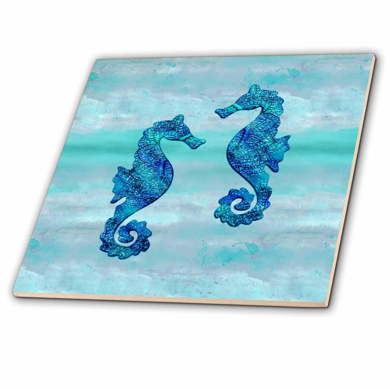 3dRose Seahorses couple blue ink - Ceramic Tile, 12-inch