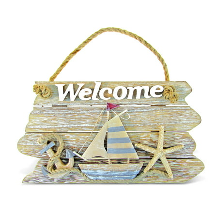 adorable plaque complete with a 3D sailboat, starfish, and ship's wheel on walmart