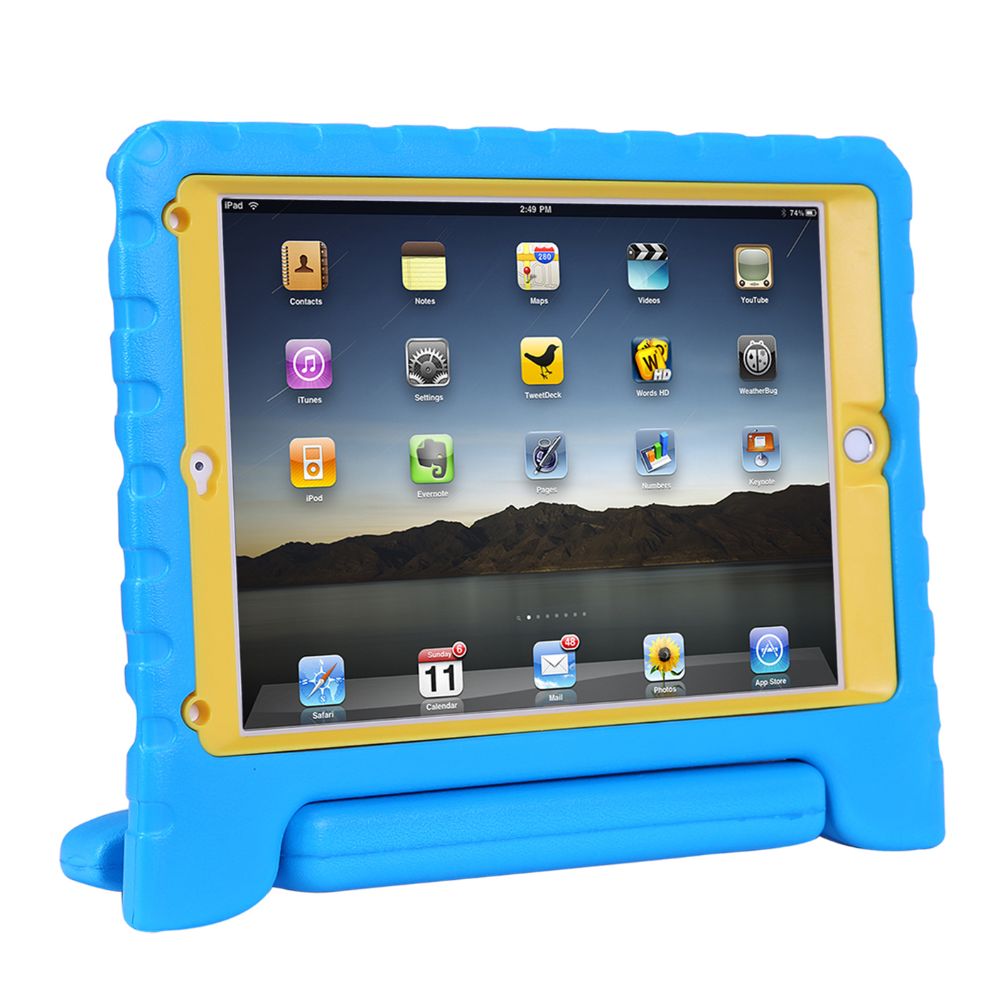 HDE iPad Air 2 Bumper Case for Kids Shockproof Hard Cover Handle Stand with Built in Screen Protector for Apple iPad Air 2 (Blue Yellow)