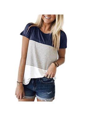 Women Maternity Breastfeeding Tee Nursing Tops Striped Short Sleeve T-shirt Navy Blue Size M