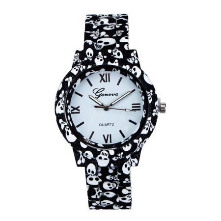 Crossbone and Skull Skeleton Watch with Porcelain Clayleta Band High-Fashion Gothic Dress (Skeleton Watch Review)