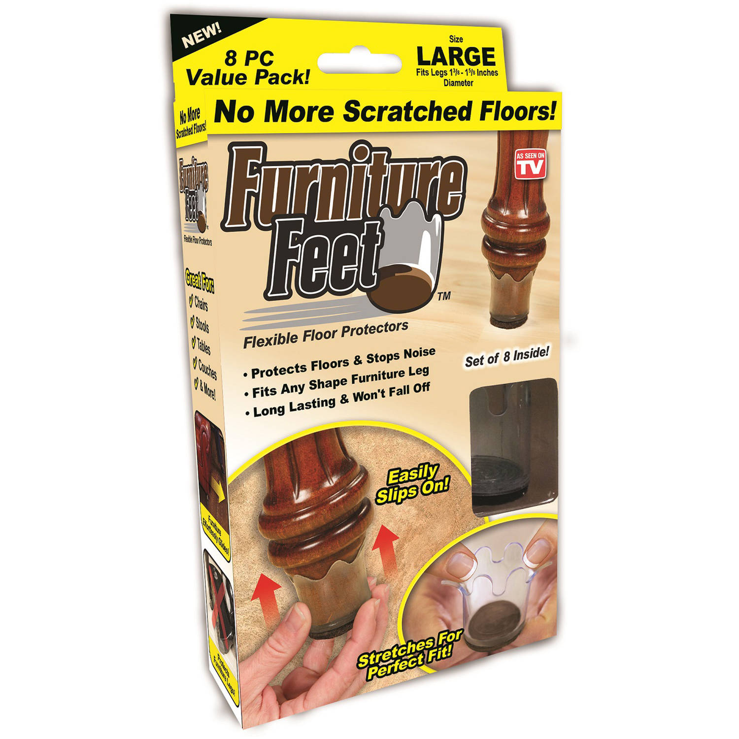 Furniture Feet Flexible Floor Protectors Value Pack 8 count