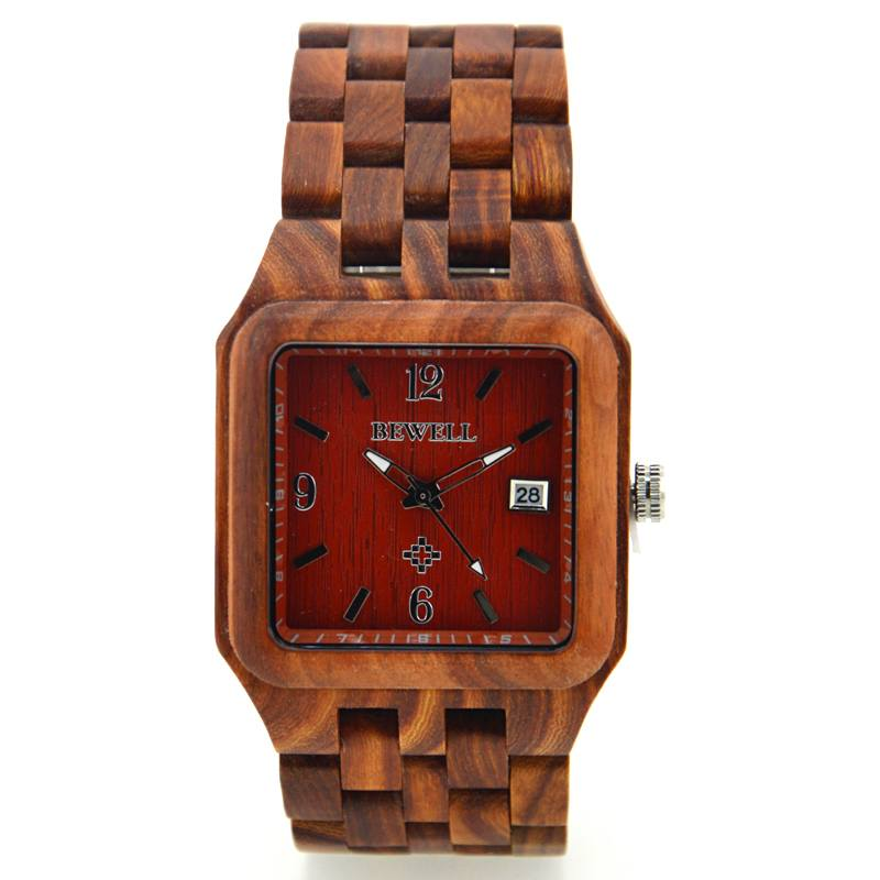 Bewell Square Wood Watch Made With Red Sandalwood For Men