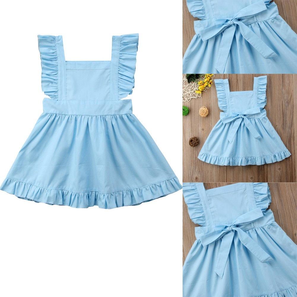 137c37d8bdd5 Hot Newborn Baby Girl Summer Sleeveless Ruffle Bowknot Back Princess  Pinafore Dress Infant Kids Party Wedding Dresses - Walmart.com