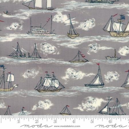 Ahoy Me Hearties - Sailboats Grey Cotton Fabric by Moda