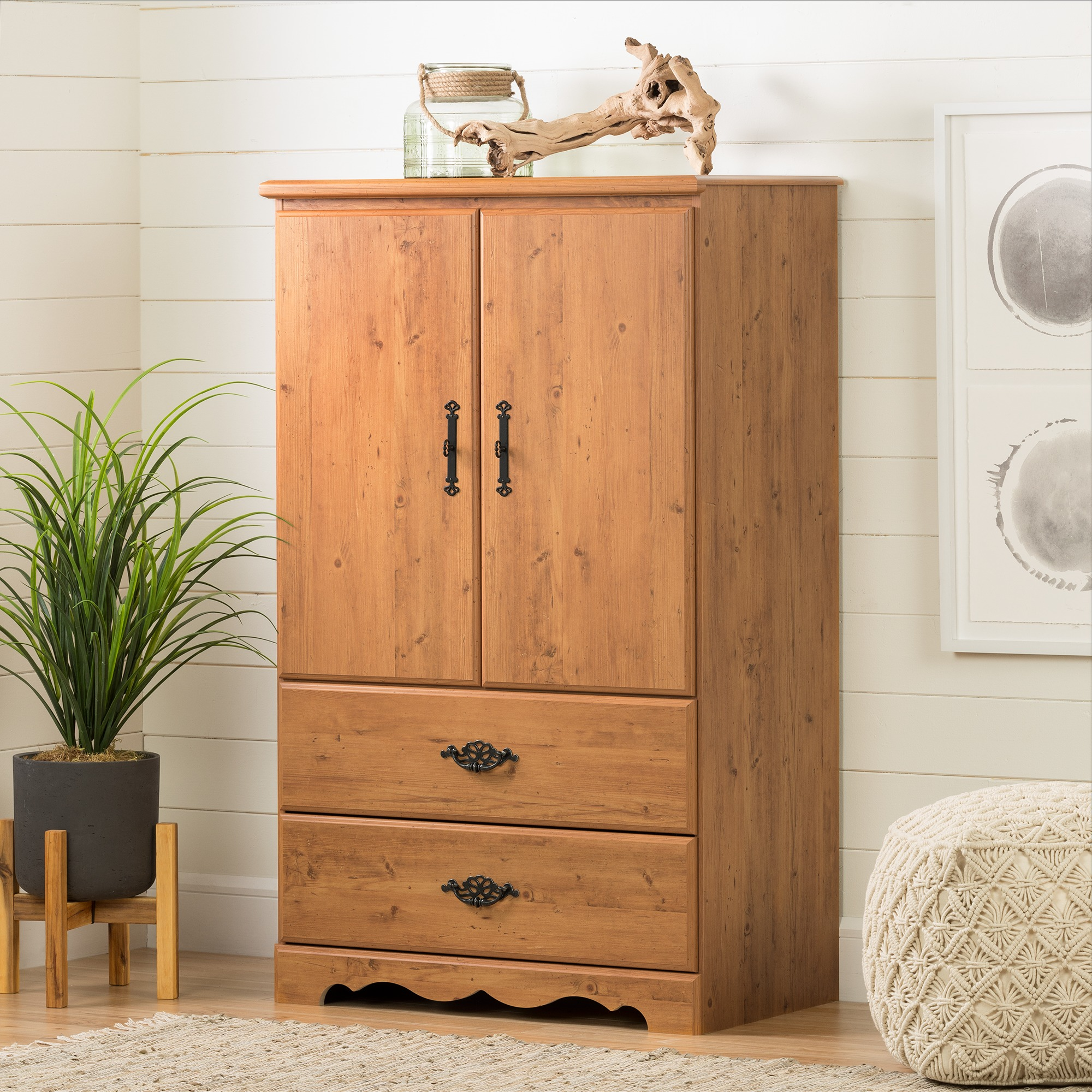 South Shore Prairie 2 Door Chest Armoire Country Pine Walmart Com