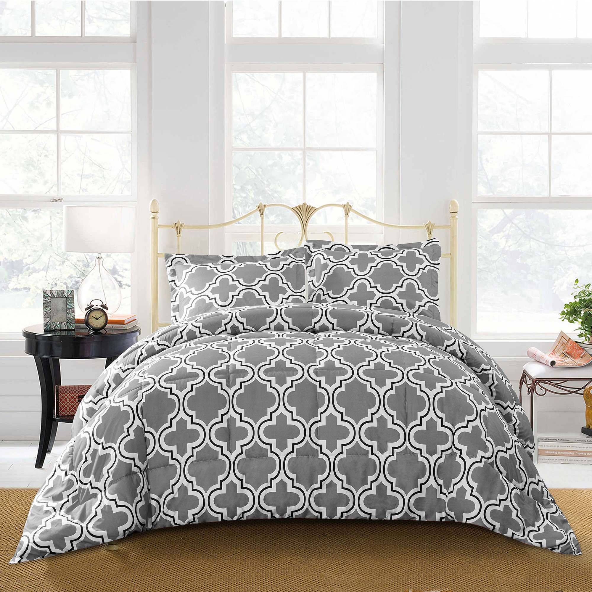 Superior Trellis Reversible Hypoallergenic,Down Alternative Comforter Set