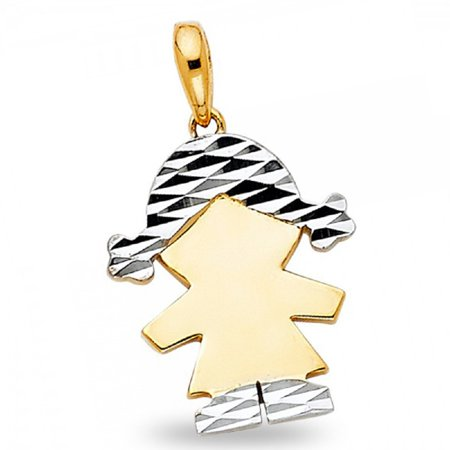 Solid 14k Yellow White Gold Small Girl Pendant Kids Engravable Charm Diamond Cut Two Tone 16 x 12 (Two Tone Small Girl)