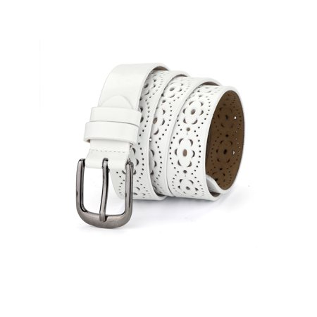 Hollow Floral Retro Vintage Faux Leather Belt With Buckle for Women White