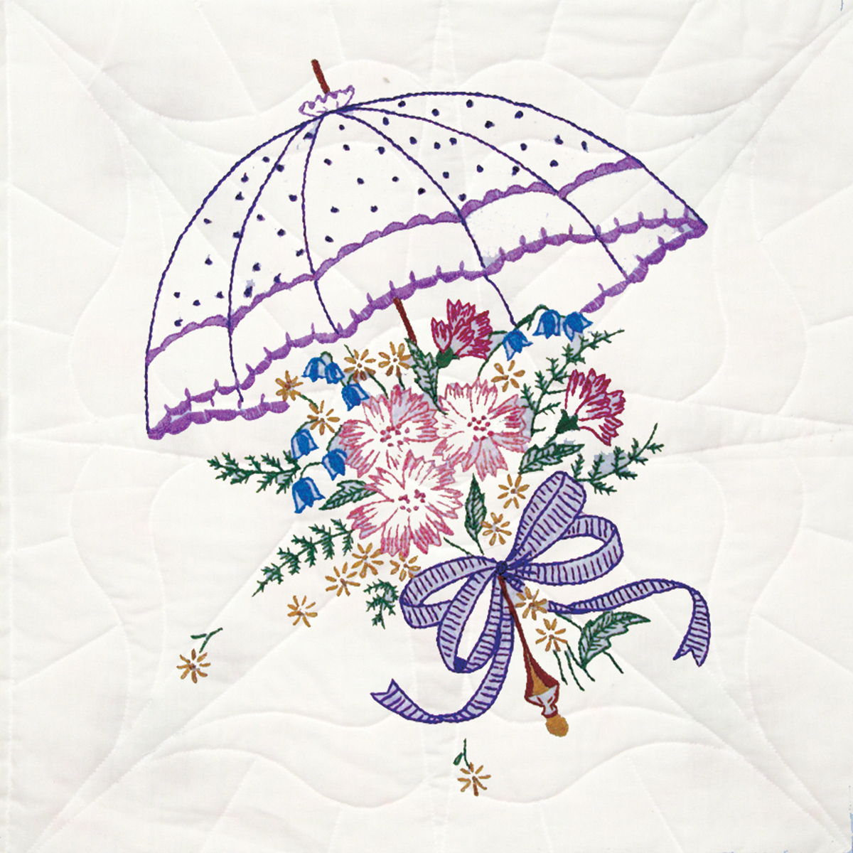"Stamped Quilt Blocks 18""x18"" 6/pkg-umbrella"