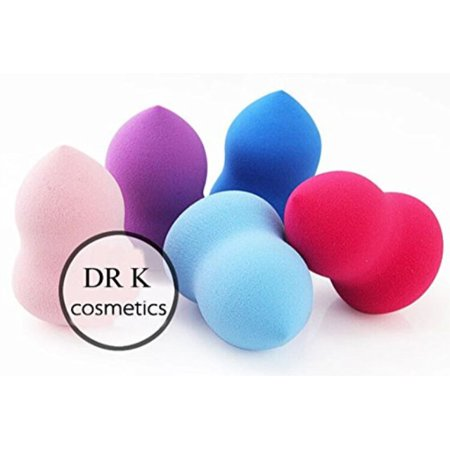 DRQ Cosmetics Blender Makeup Sponges-5PCS Pro Beauty Latex Free Makeup Blender Blending Foundation Sponge Flawless Smooth Puffs Multi Shape Sponges (Bottle Gourd Shape, PPA)