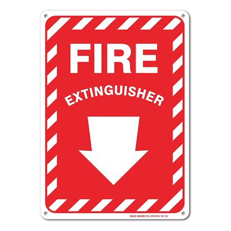 Fire Extinguisher Sign With Arrow, Large 10 X 7
