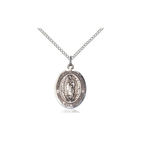 Sterling Silver Senora De Guadalupe Medal Pendant 3 4 X 1 2 Our Lady Miraculous Immaculate Conception Virgin Mary On A 18 Inch Sterling Silver Curb Chain Necklace Gift Boxed