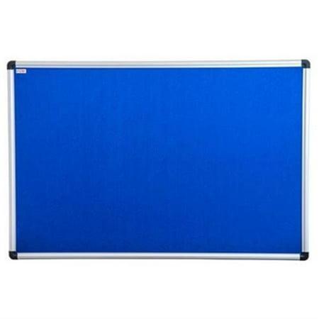 FloortexUSA  36 x 24 in. Viztex Fabric Bulletin Board, Blue & Aluminum - image 1 de 1